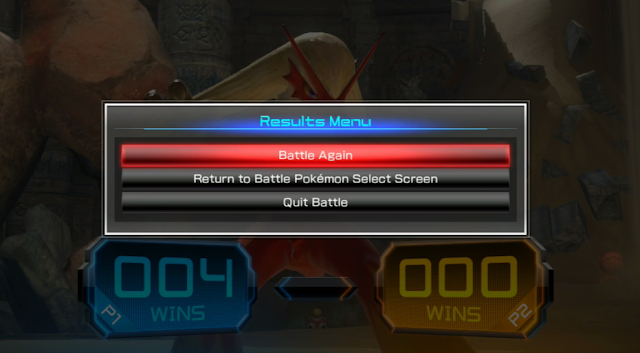 Pokkén Tournament DX Regi Ruins Shuckle background Blaziken results menu