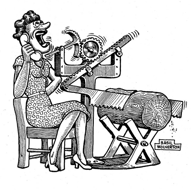 a Basil Wolverton cartoon about women talking too much on the telephone