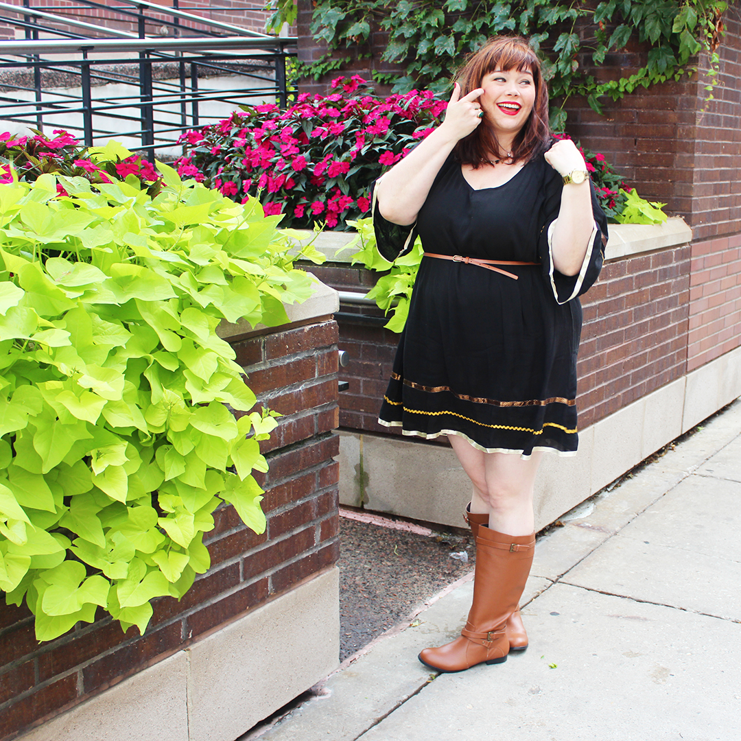 Chicago Plus Size Blogger Amber from Style Plus Curves in Dress and Boots from Fullbeauty.com, fall fashion