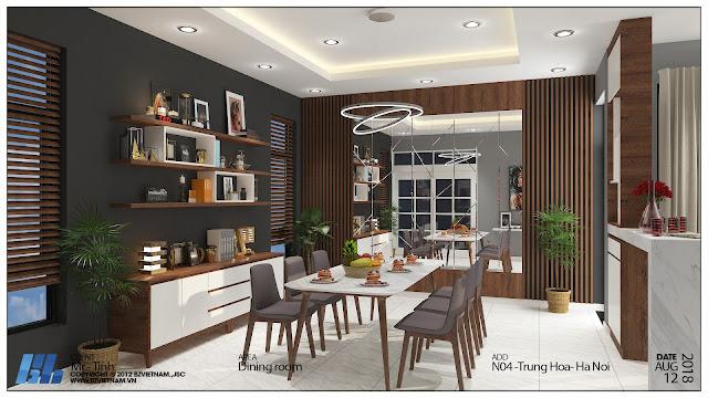 Mẫu thiết kế nội thất phòng khách 2 nhà liền kề thanh hà cienco 5