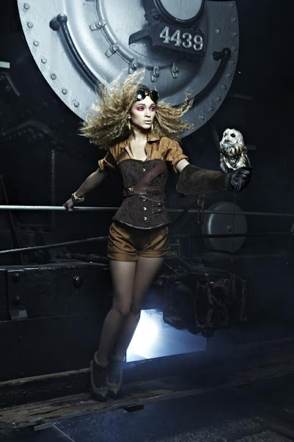 ANTM steampunk fashion steampunk clothing owl train