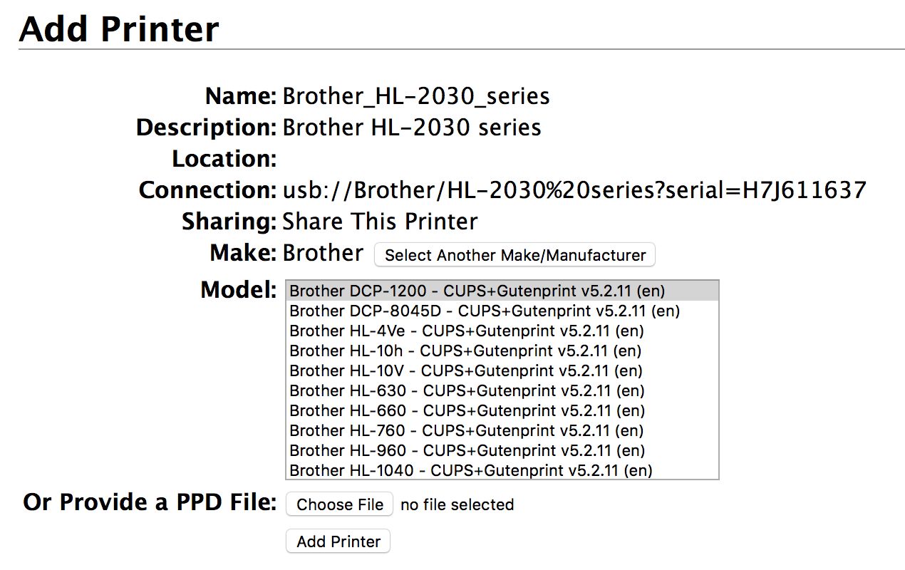 post-ccie life : Brother HL-2032 and osx - wireless printing (Linux)