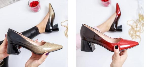 Pantofi Zeida negri , rosii cu auriu cu toc mic gros foarte lejeri