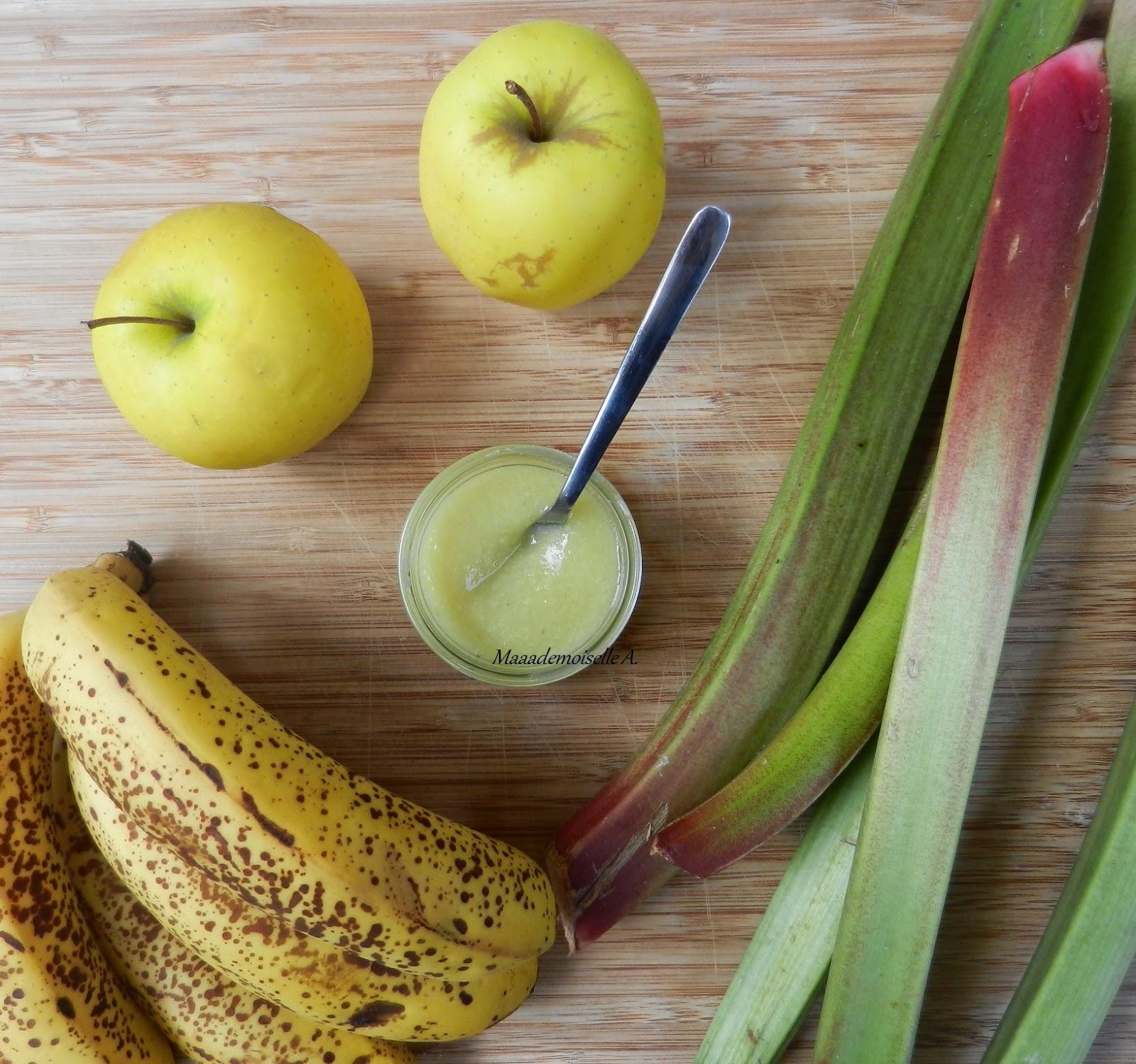 Recette de petit pot pour bébé : Compote Pomme - Rhubarbe - Banane
