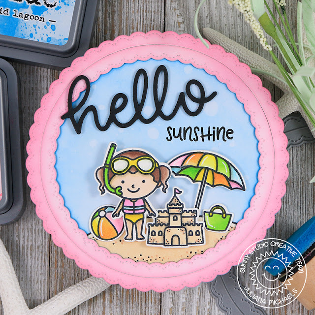 Sunny Studio Stamps: Beach Babies Hello Word Die Fancy Frames Sunshine Circle Card by Juliana Michaels