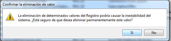 Cuadro de dialogo para confirmar eliminacion del valor del registro