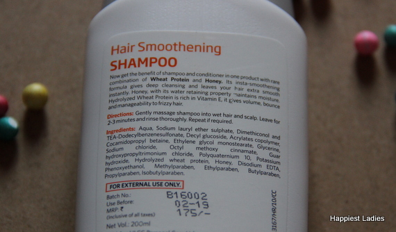 VLCC Hair Smoothening Shampoo Ingredients