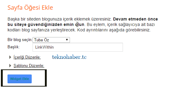 linkwithin widget ekle