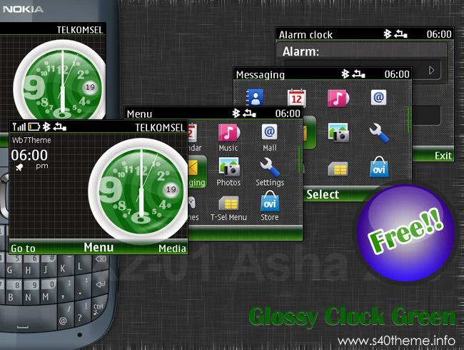 Glossy clock series free theme Asha 200 Asha 201 Asha 302 C3-00 X2-01