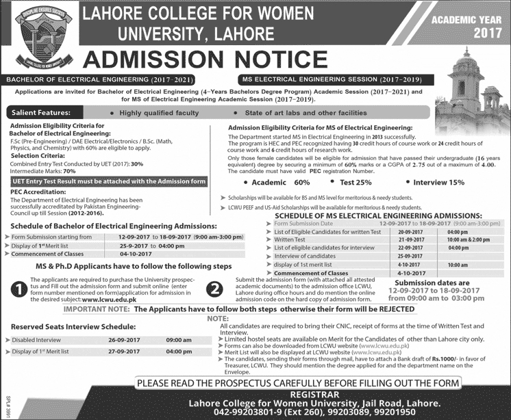 Admissions Open in Lahore College for Women University - 2017