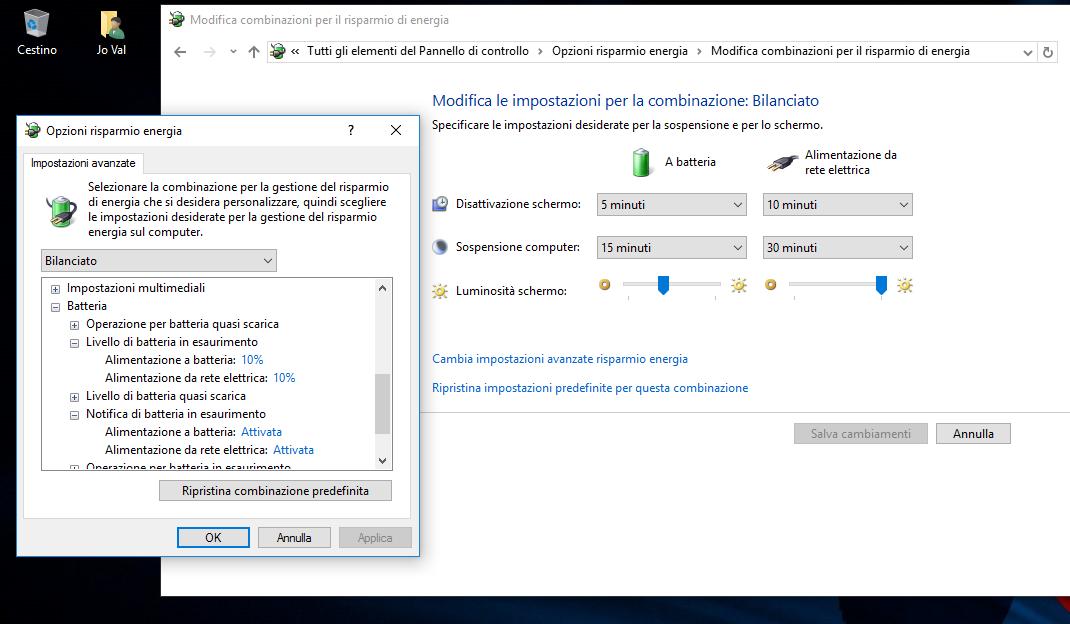 windows 10 avviso batteria