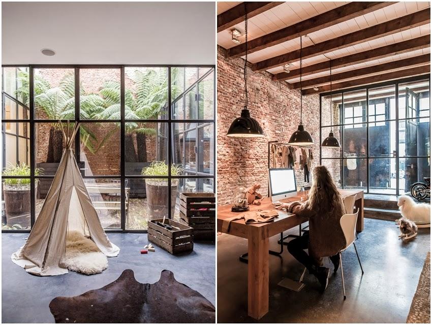 Wspaniały loft z oszklonym patio, wystrój wnętrz, wnętrza, urządzanie domu, dekoracje wnętrz, aranżacja wnętrz, inspiracje wnętrz,interior design , dom i wnętrze, aranżacja mieszkania, modne wnętrza, loft, styl loftowy, styl industrialny, ceglana ściana, ściana z cegły, czerwona cegła,