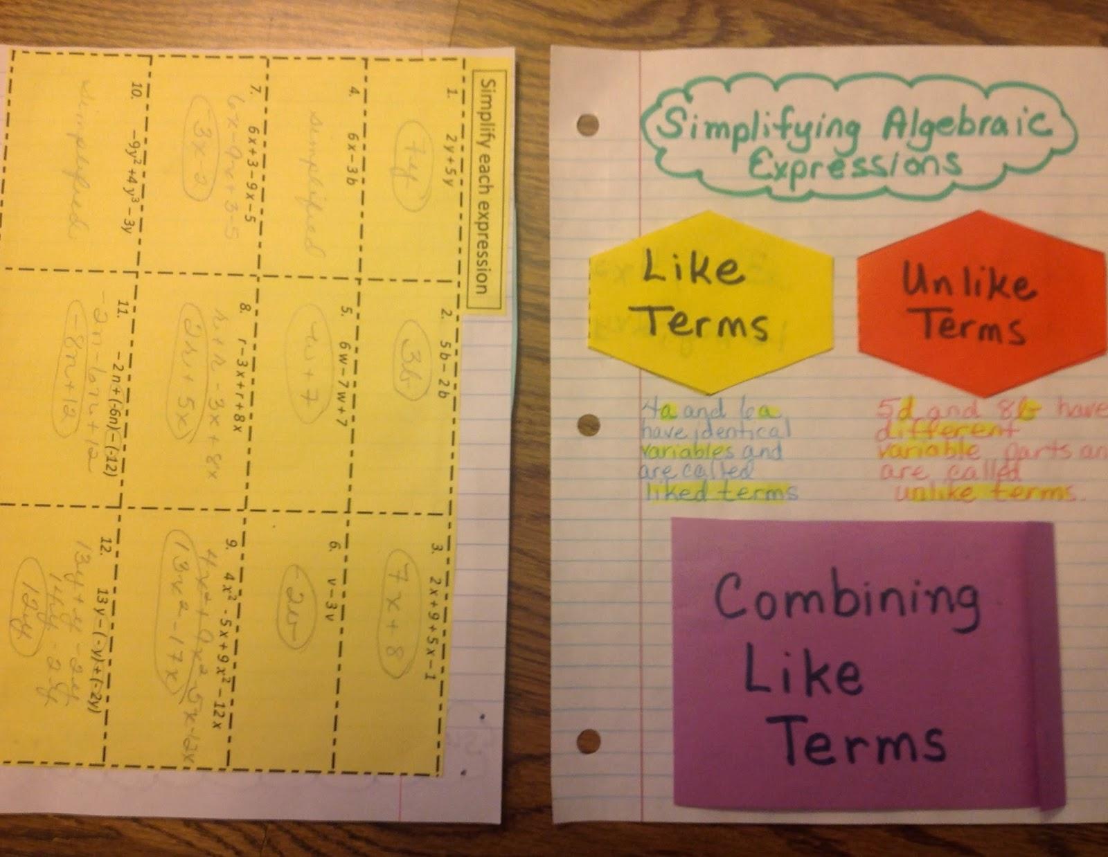 Equation Freak Like Terms Unlike Terms Foldable
