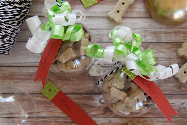 Christmas tree ornaments filled with small dog treats