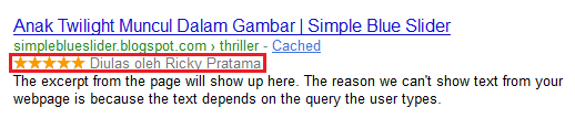 Rich Snippet Metadata di SERP Google
