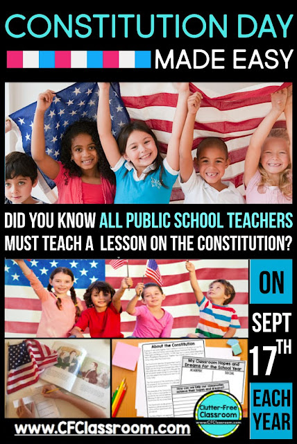 Did you know ALL public school teachers MUST teach a lesson about the Constitution every September? Click through for free Constitution Day activities that are appropriate for first, second, third, fourth, and fifth grade.