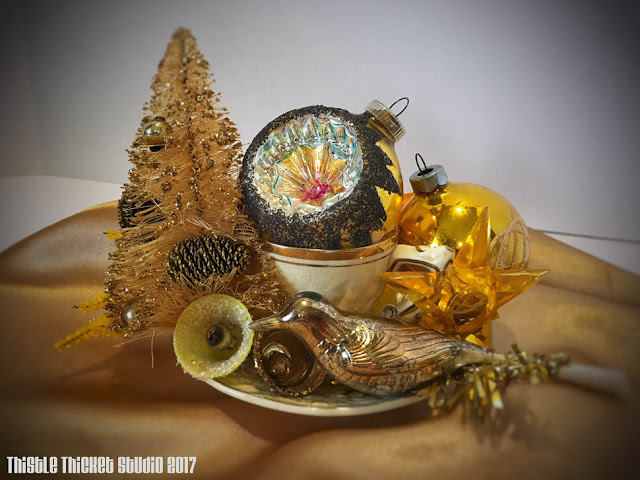 Gold Vintage Christmas Ornament Arrangement by Thistle Thicket Studio. www.thistlethicketstudio.com