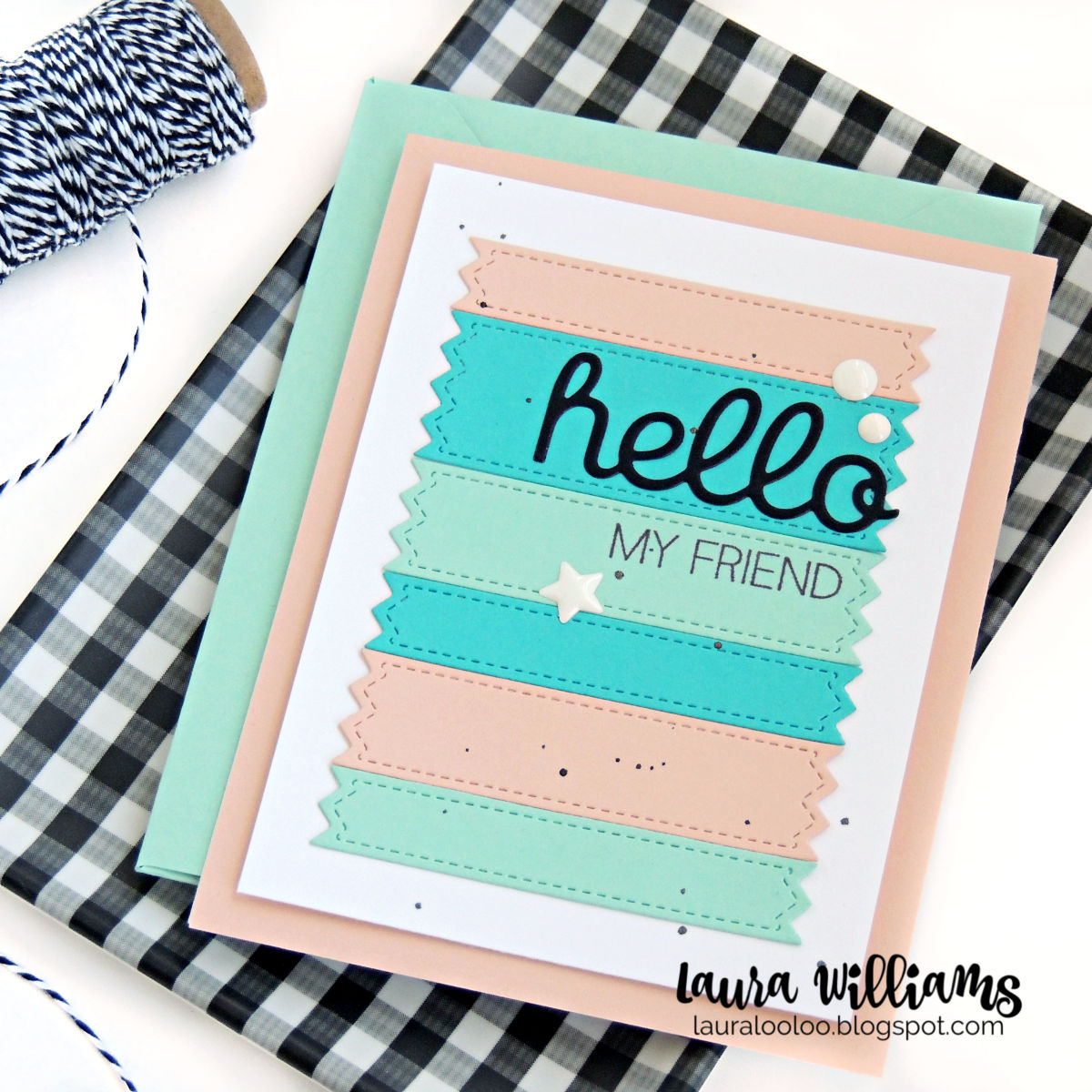 "Many Colours//Cards Greeting H.A 8 /""Hello/"" Die Cuts Sentiment Friends"