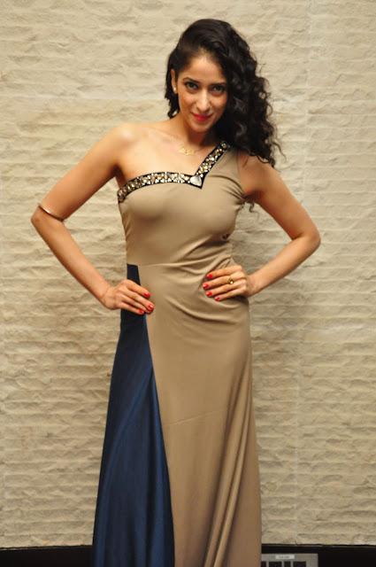 Miss Asia 2007 Runner up Neha Ahuja Flaunts her Slim Figure in Strapless Beige Gown