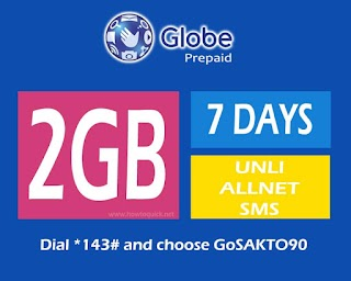 Globe GOSAKTO 90 – 2GB of Data, 7 days unlimited texts to all Networks