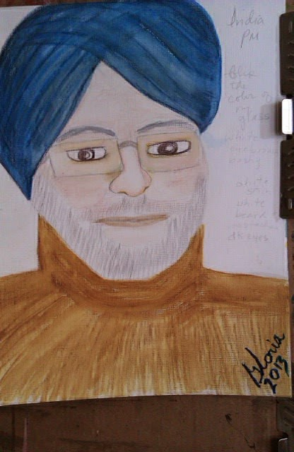 Indian Prime Minister sketch by Gloria Poole of Missouri; yr 2013