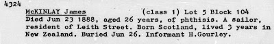 """New Zealand Society of Genealogists, """"Northern Cemetery Burial Register, vol. 2"""" (typescript, Ancestry.com Inc., Provo), p. 414."""