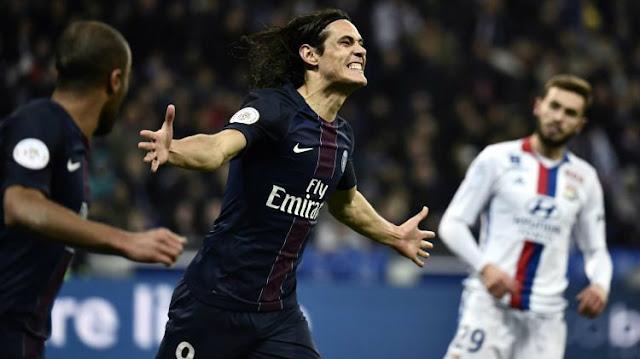 Cavaini a encore marqué un doublé pour le PSG face à Lyon