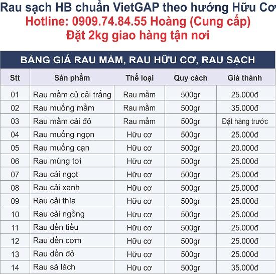 Bảng giá bán lẻ rau mầm - rau hữu cơ HB