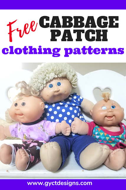 "Cabbage Patch Dolls are a great gift for little ones, especially when you can sew up your own doll clothes with these free PDF patterns for size 12"" and 17"" Cabbage Patch dolls. #cabbagepatch #dollclothes #babydoll #sewing #pattern #pdfpattern"