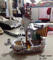 contoh papercraft model perahu one piece