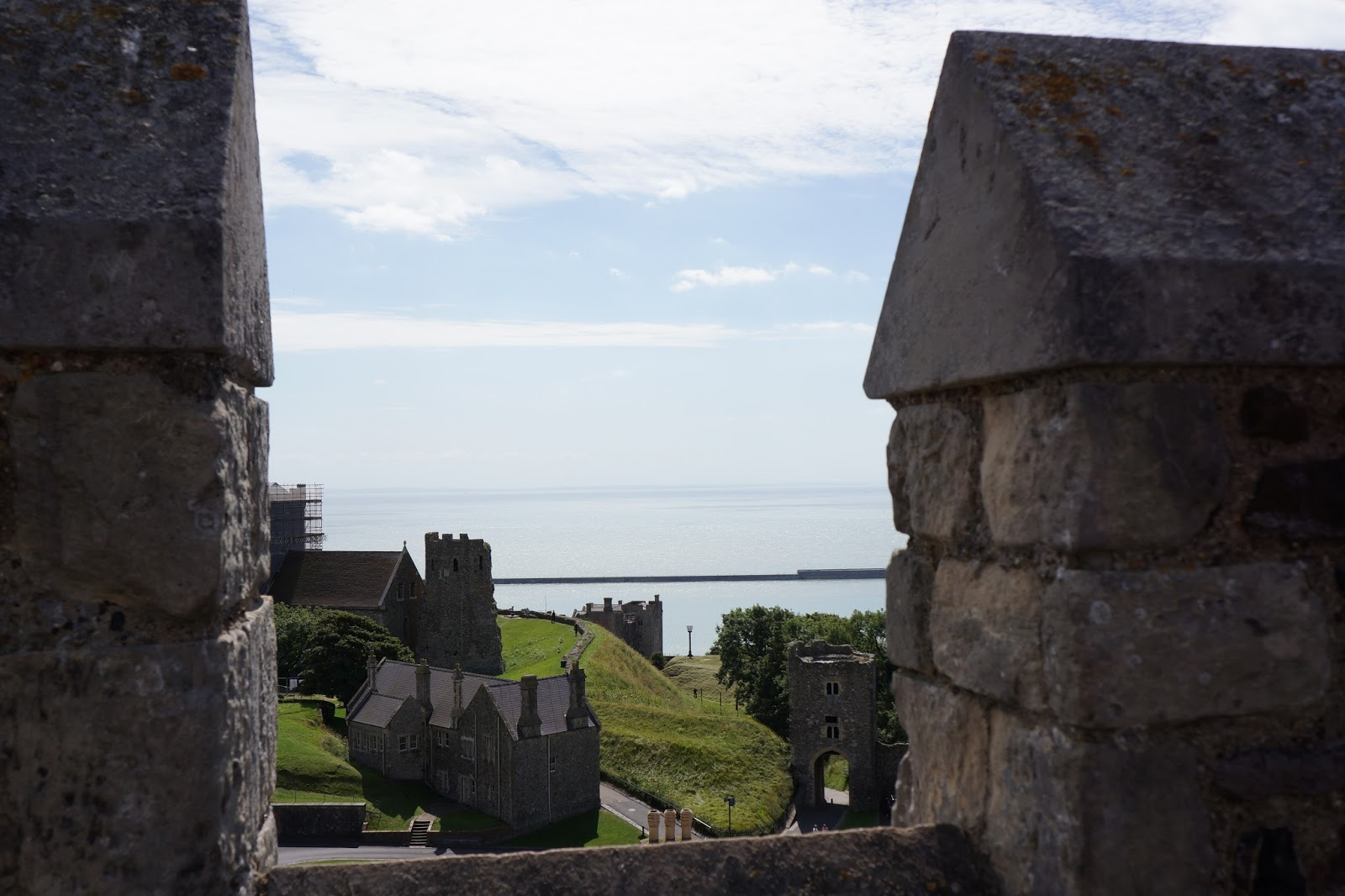 view between crenellations at dover castle