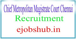 Chief Metropolitan Magistrate Court Chennai Recruitment