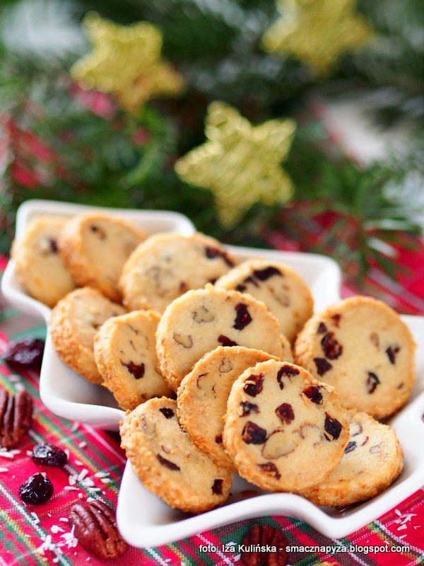 kruche ciasteczka, cranberry noel, zurawina suszona, orzechy pekan, swiateczne wypieki, ciastka na swieta, bozenarodzenie, moje wypieki