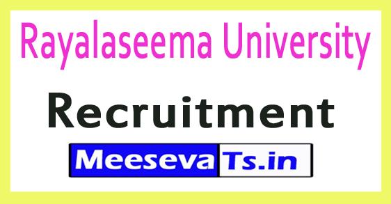 Rayalaseema University Recruitment Notification 2017