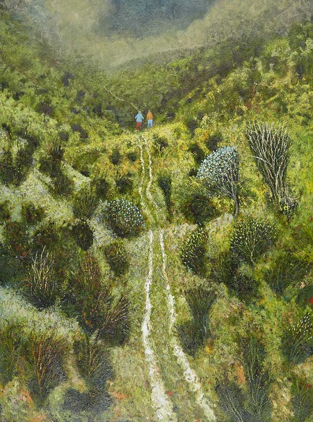"""Valley"" painting by Simon Garden - oil on panel, 2017 