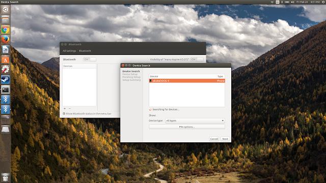 bluetooth tethering ubuntu to android