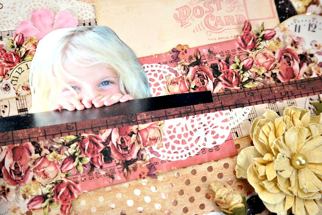 Peek-a-Boo-Photo and Patterned Paper Layering on a Shabby Chic Scrapbook Layout by Dana Tatar