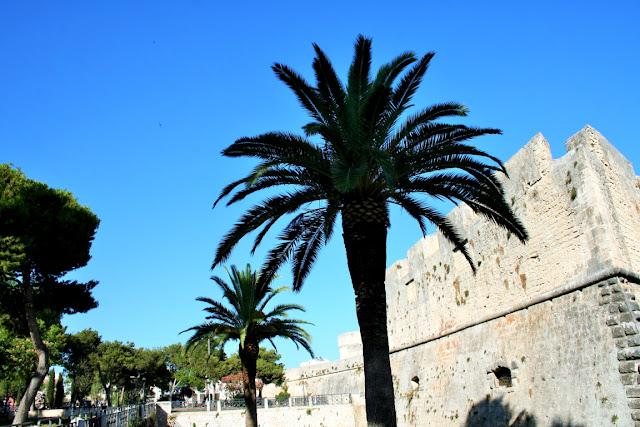 castello, palme, giardino, cielo, monumento