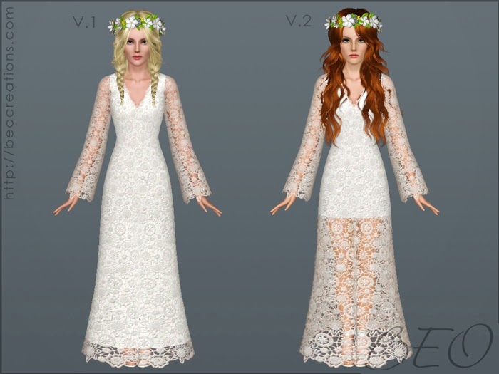 My Sims 3 Blog: Bohemian Long Wedding Dress By BEO