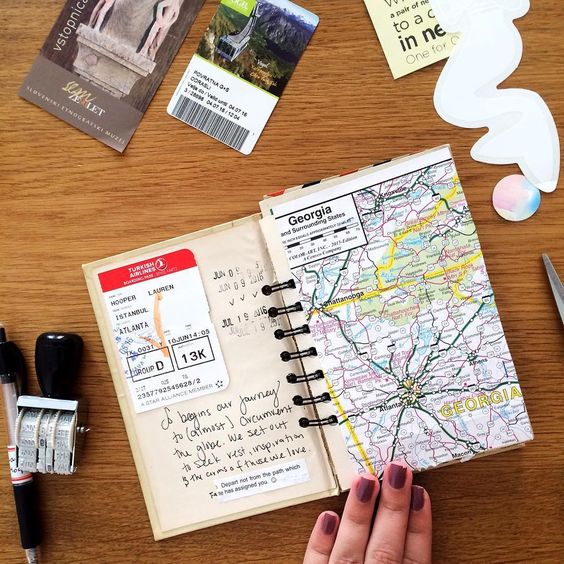 travel journal mapa y billete