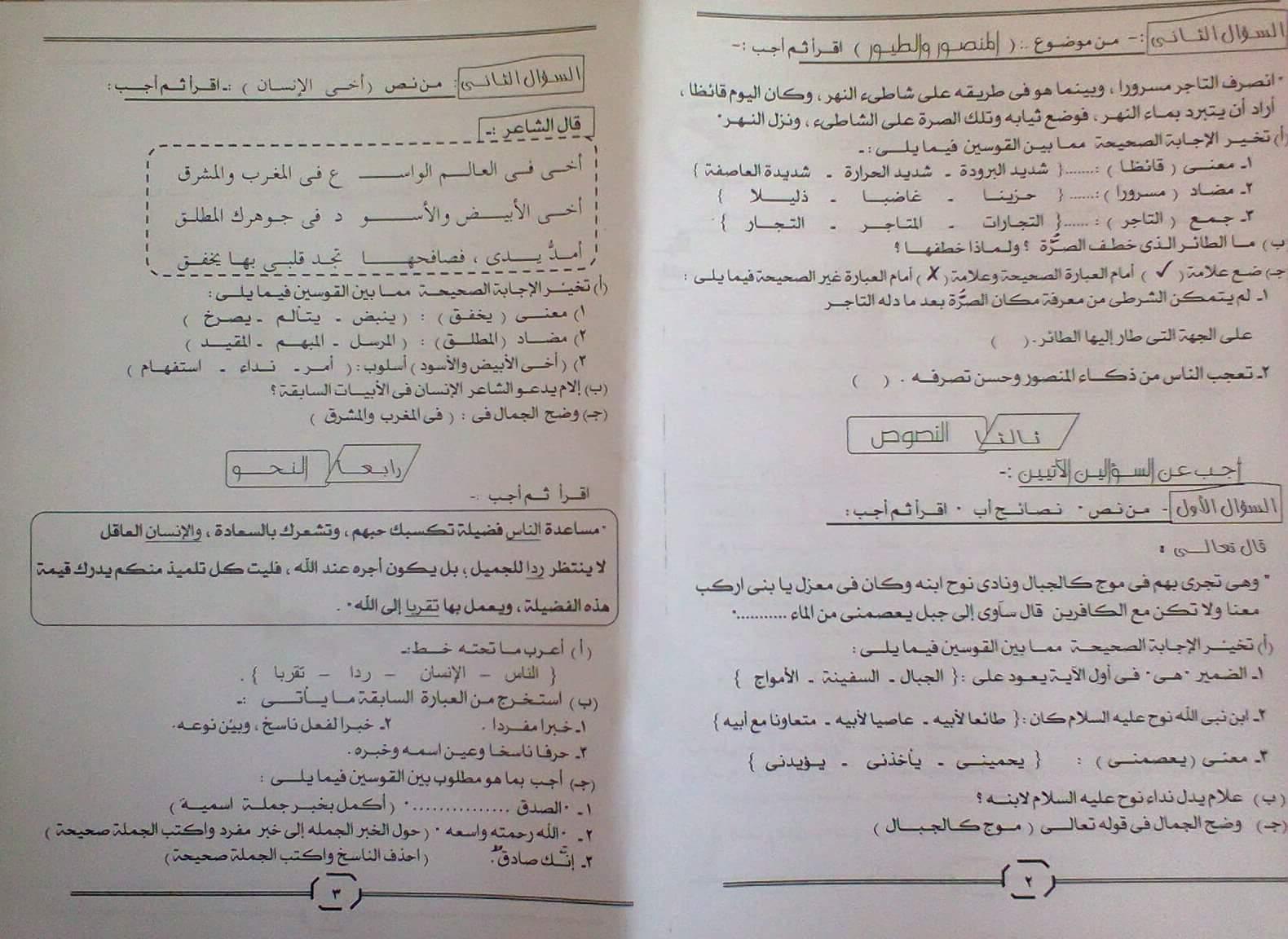 امتحان نصف العام الرسمى فى اللغة العربية الصف السادس الابتدائي محافظة المنيا  الترم الاول 2017