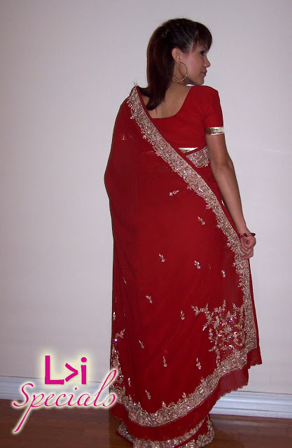 LuceBuona in a red Sari. L-vi.com