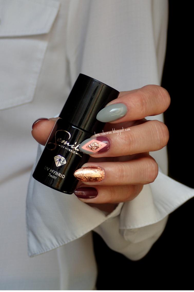 semilac złote paznokcie semi flash