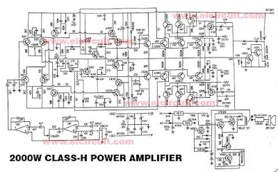 Powerfull 2000W Power Amplifier Class-H Circuit