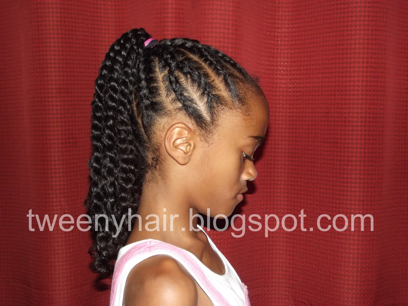 Tweeny Hair Y Shaped Cornrows Into A Ponytail Of Twists