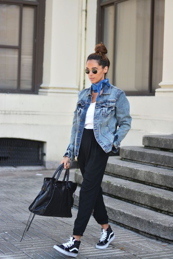 Stella Wants to Die - Denim Oversized Jacket + Black Vans Sk8 Hi Sneakers