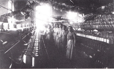 Workers in cotton mill, Heywood, Lancashire