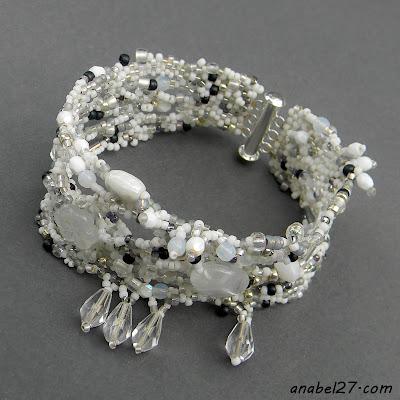 свадебная бижутерия, белый, фриформ, бисер  браслет
