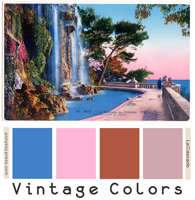 La Cascade Vintage Color Palette - ponyboy press blog, see blog for hex codes
