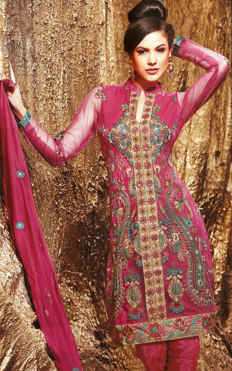 Latest Design Of Assam Type House: Latest Design Embroidery Chudidar Kameez Suits In 2011